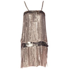 1990S PACO RABANNE  Style Dove Grey Rayon & Silver Paillette Fringe Flapper Coc