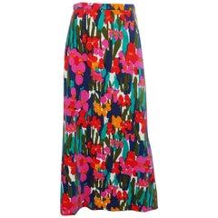 Lilly Pulitzer Mod Floral Velvet Maxi Skirt, 1960s
