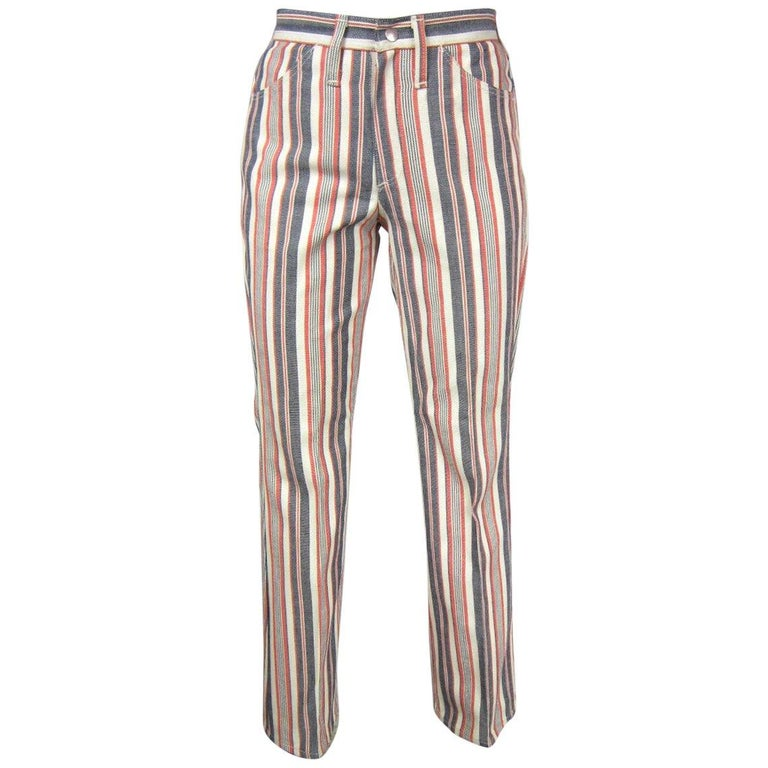 d3744a2b 1960s Wrangler Hippie Striped Jeans New, Never worn USA For Sale at ...
