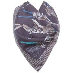 Hermes Vintage Silk Scarf Printemps Ete 69 Automne Hiver 70 Brown Blue 70 cm