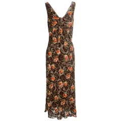 John Galliano Floral Burned Out Velvet Dress with Matching Shawl