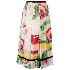 Jean Paul Gaultier Pleated Silk Floral Skirt