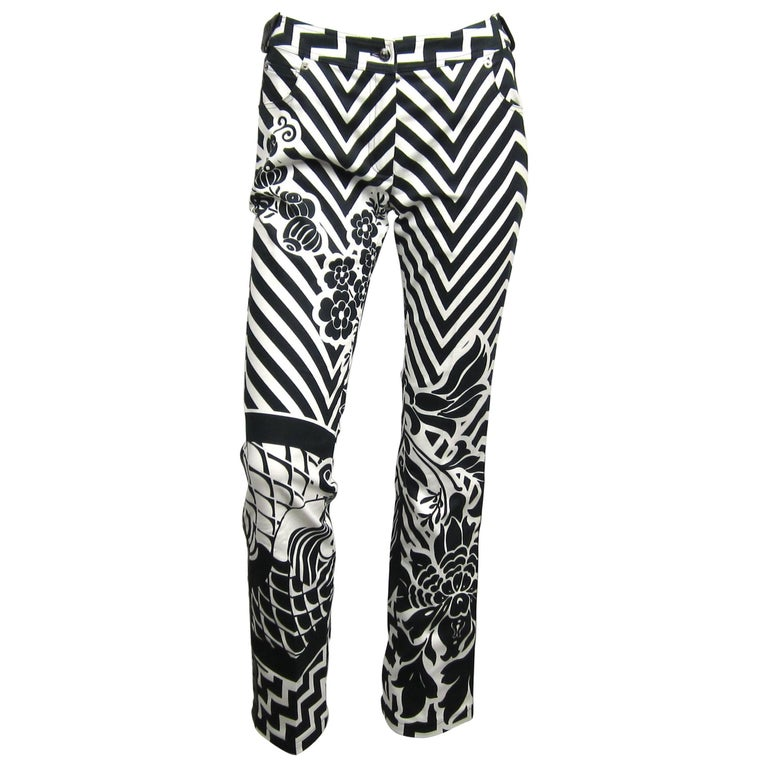 1990s Galliano for Christian Dior B and W Graphic Leather Buckle Bondage Pants