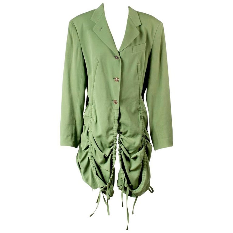 Jean Paul Gaultier Coat with Vertical Drawstrings to Tier and Scallop Hem