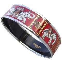 Hermes Enamel Printed Bracelet Elephants Pattern Torana Red PHW 65