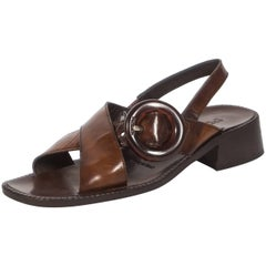 Prada brown leather sandals with buckle, Spring-Summer 1996