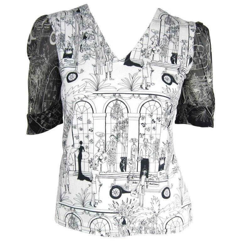 1990s John Galliano Whimsical Print Tee Shirt