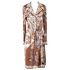 Pucci Shirt Dress with Drawstring Waist and Paisley Motif, circa 1970s