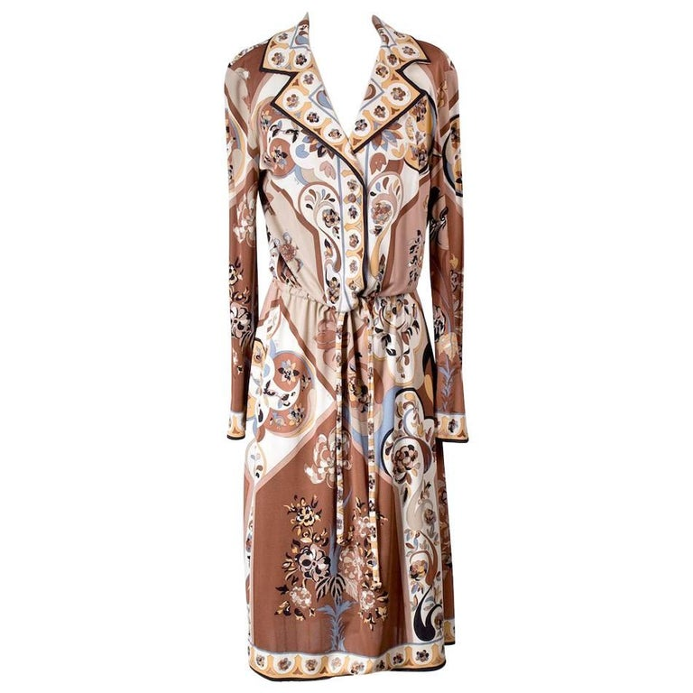 Pucci Shirt Dress with Drawstring Waist and Paisley Motif, circa 1970s For Sale