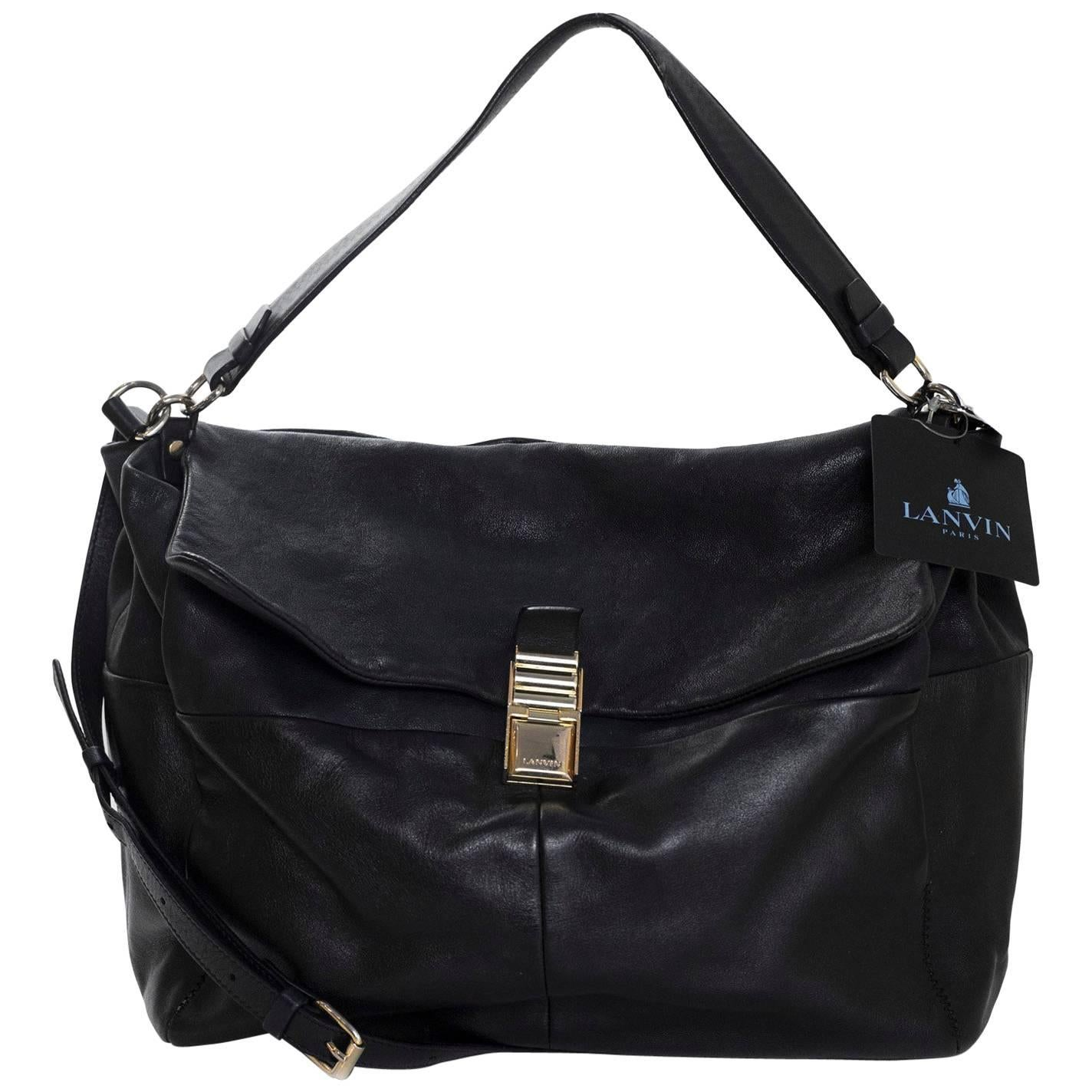 1stdibs Lanvin Black Leather For Me Satchel Bag Rt. $2,200