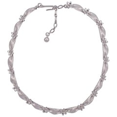 Trifari Silver Tone Ribbon and Flower Necklace