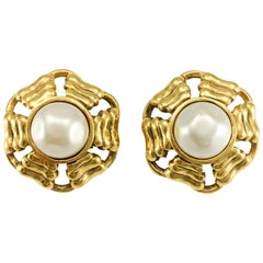 Chanel Gold-Plated Round Pearl Earrings, 1980s