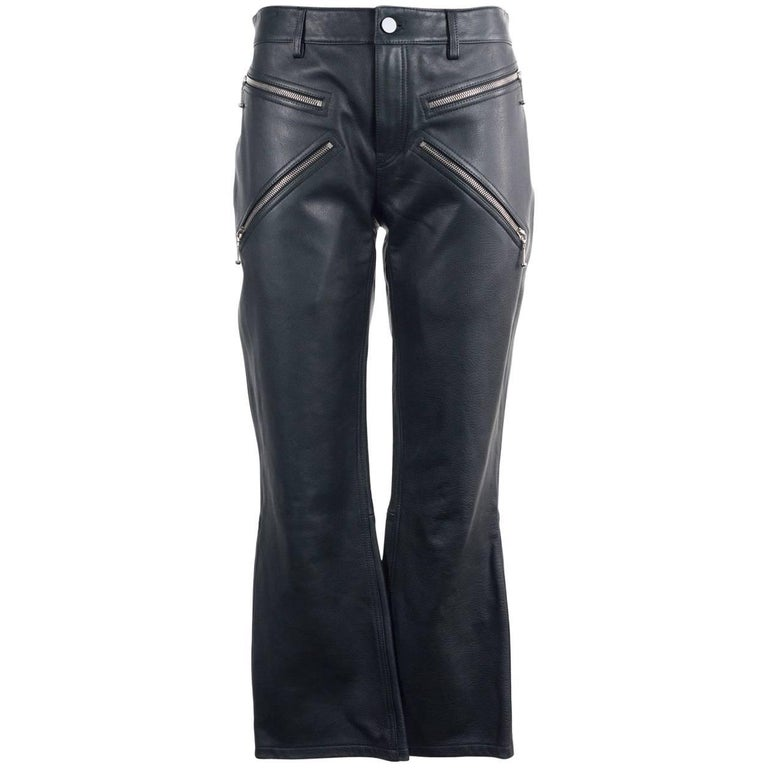 Alexander Wang Women's Black Leather Cropped Bikers Trousers  For Sale
