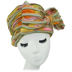 Mr. John Jr. Floral Turban Style Hat With Straw Edging, 1960s