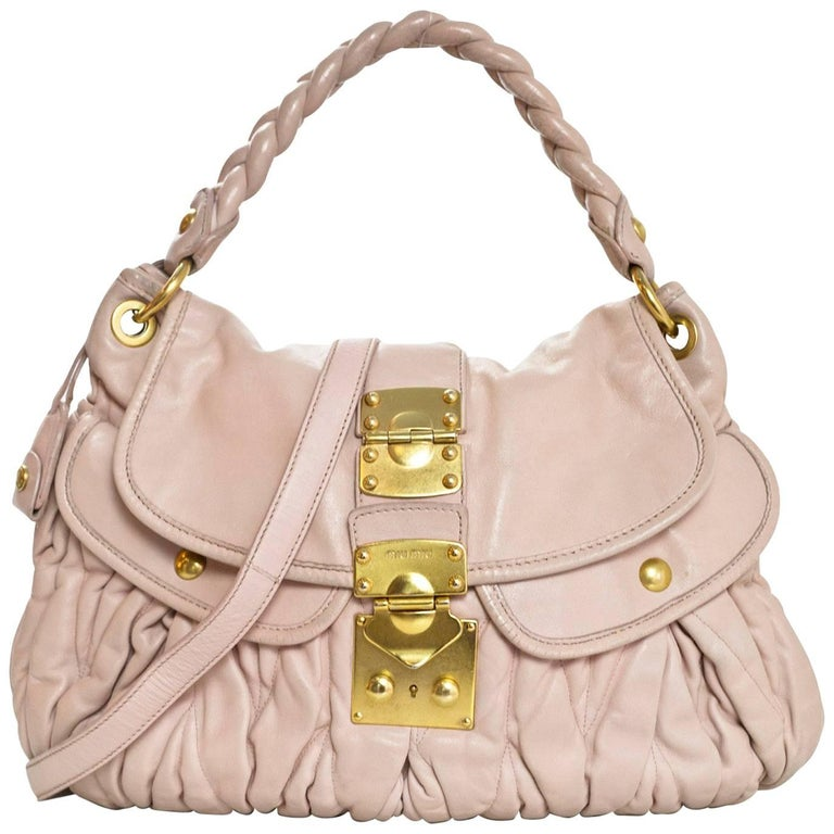 Miu Miu Blush Matelasse Lambskin Coffer Satchel Bag with DB For Sale