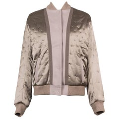 Maison Margiela Brown Wool Paneled Satin Combo Bomber Jacket