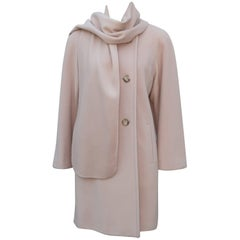 Saks Fifth Avenue Cashmere Car Coat Jacket With Built In Scarf, 1980s