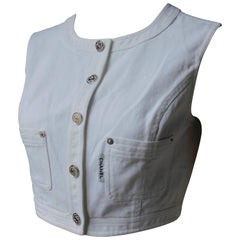 Chanel White Cotton Denim Vest with Silver Buttons, 1996