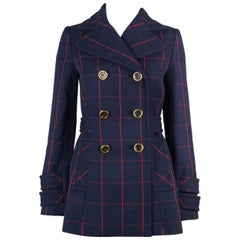 Miu Miu Womens Navy Wool Red Check Double Breasted Peacoat