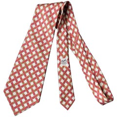 Hermes Silk Tie printed with Woven Saddle Stirrup Buckles