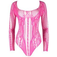 Alexander McQueen hot pink bodysuit, Spring-Summer 2004