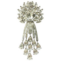 A large articulated clear paste drop brooch, Trifari, USA, 1950s