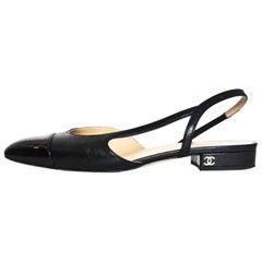 Chanel '17 Black Leather Sling Backs sz 37.5