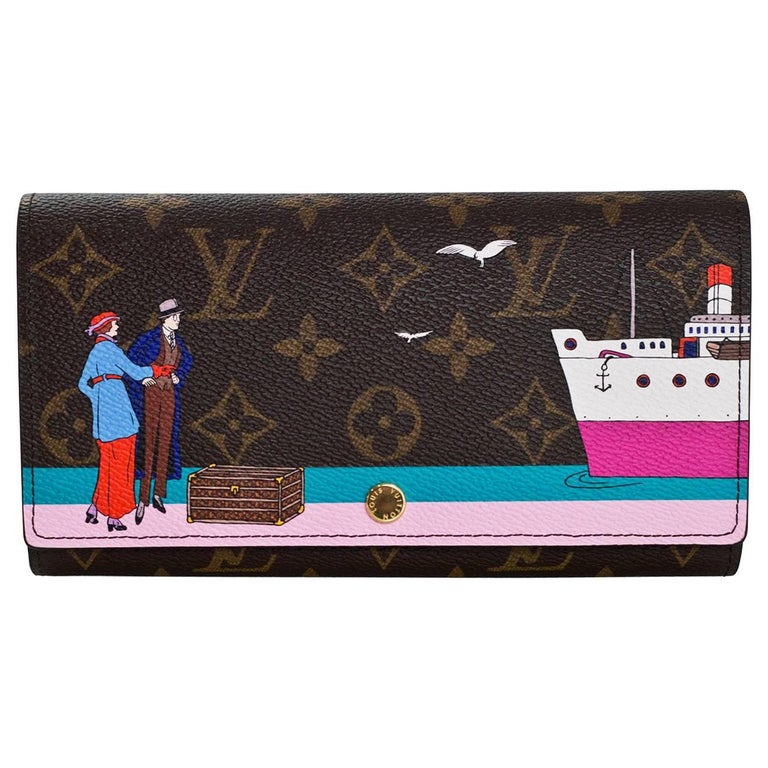 Louis Vuitton 2016 Illustre Transatlantic Christmas Monogram Sarah Wallet For Sale