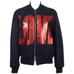 Givenchy Womens Black Metallic Love Logo Bomber Jacket