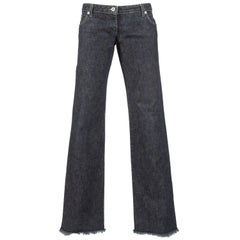 Alexander McQueen blue frayed denim bumster pants, Autumn-Winter 1996