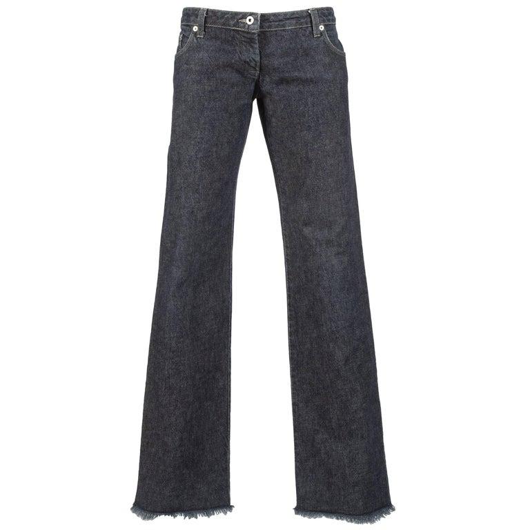 Alexander McQueen blue frayed denim bumster pants, Autumn-Winter 1996