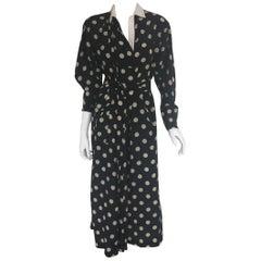 Gianfranco Ferre polka dot asymmetrical draped dress