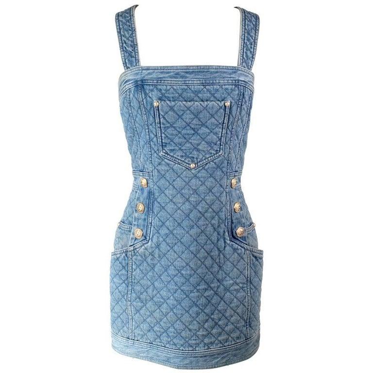Balmain Quilted Denim Overall Dress