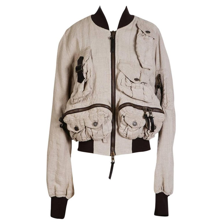 Dolce & Gabbana Linen Bomber Jacket with Pockets