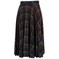 Maison Margiela Womens Purple Green Wool Plaid Pleated Skirt