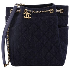 Chanel Urban Spirit Drawstring Bag Quilted Denim Small