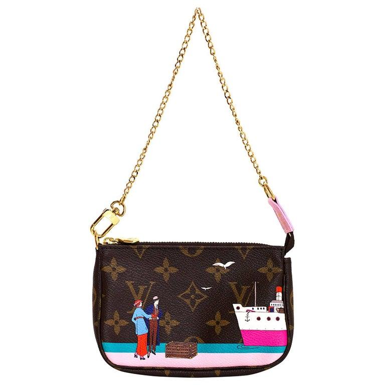 Louis Vuitton Illustre Transatlantic Christmas Monogram Mini Pochette Bag For Sale