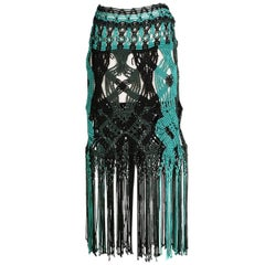Proenza Schouler Crochet Knit Skirt with Fringe