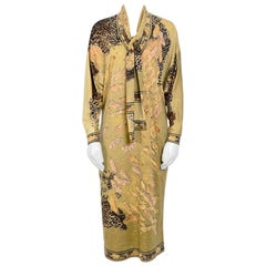 Leonard Vintage Feather Print Jersey Dress With Matching Belt