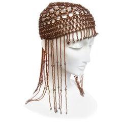 Brown Fringe Beaded Headpiece