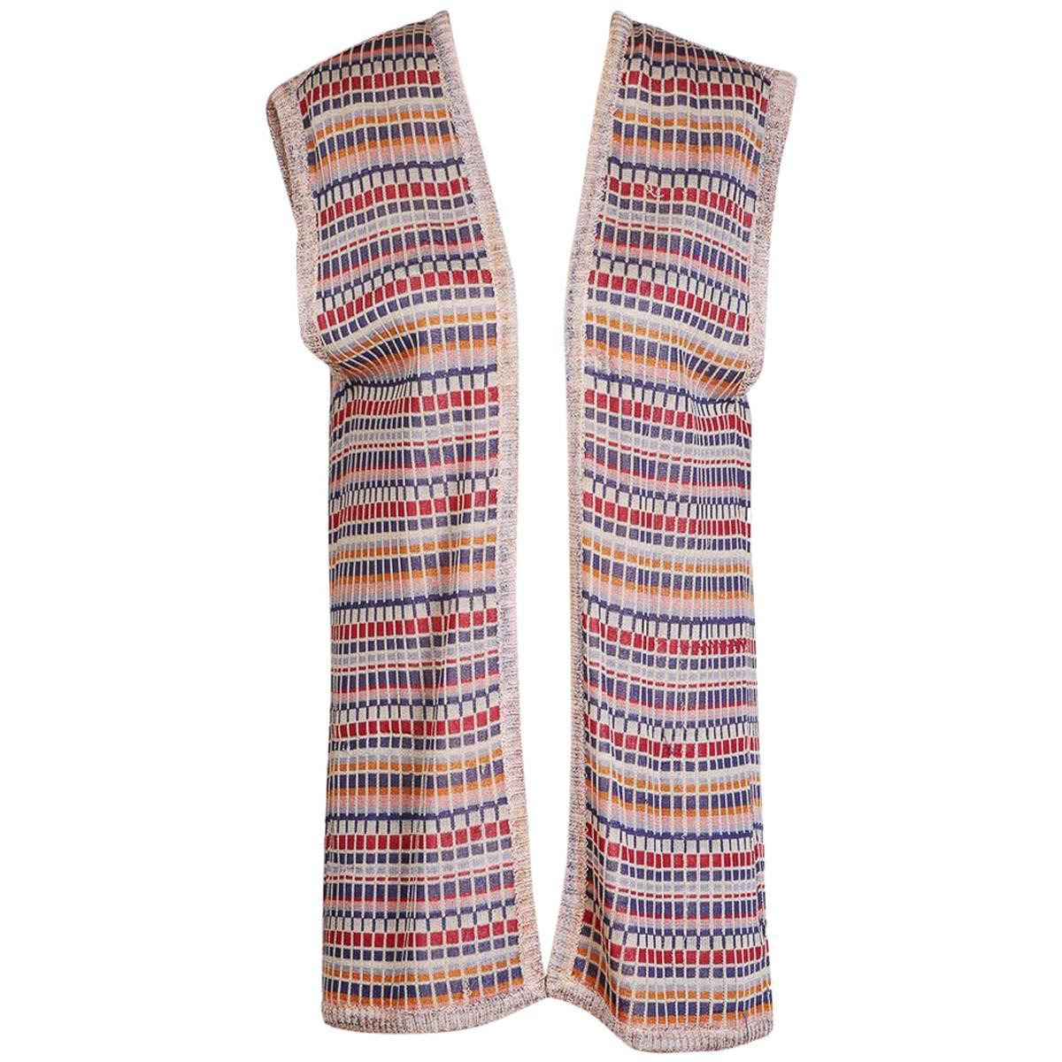 Missoni Vest with Geometric Stripes and Blocks Pattern, circa 1970s