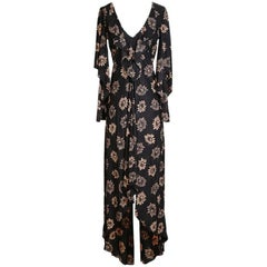 Biba Peasant Dress with Floral Print and Butterfly Bell Sleeves, circa 1970s