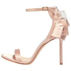 Jimmy Choo New Satin Champagne Evening Sandals Heels