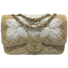Chanel Tan Quilted Soft Raffia Woven Jumbo Classic Flap Shoulder Bag