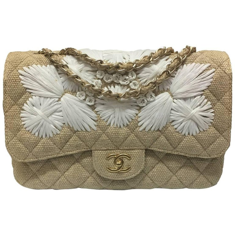 77495010c1e846 Chanel Tan Quilted Soft Raffia Woven Jumbo Classic Flap Shoulder Bag For  Sale