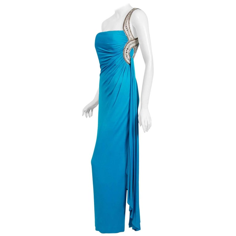 1986 Travilla Couture Whitney Houston Design Blue Beaded One-Shoulder Silk Gown For Sale