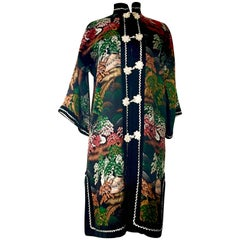 20th Century Silk & Velvet Emboridered Kimono Dinner Jacket-Hong Kong