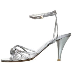 Chanel Silver Leather Sandals Sz 41