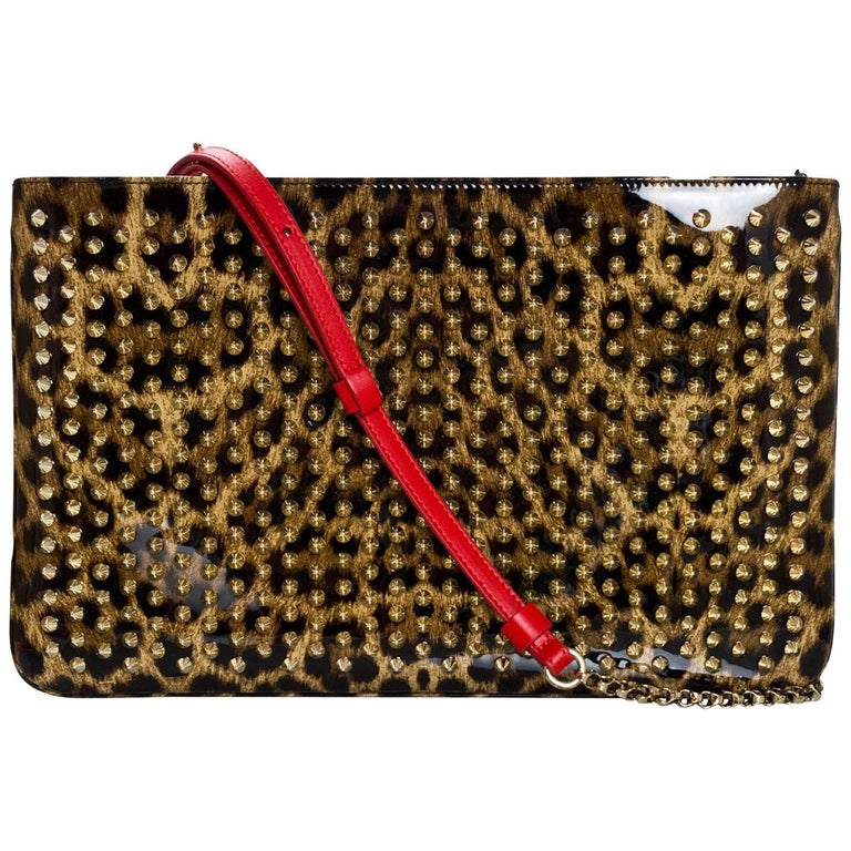 Christian Louboutin Posh Spikes Patent Leopard Clutch/Crossbody Bag
