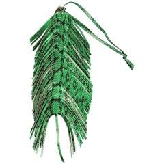 Jimmy Choo Green Snake Skin Leather Fringe Feather Key Chain